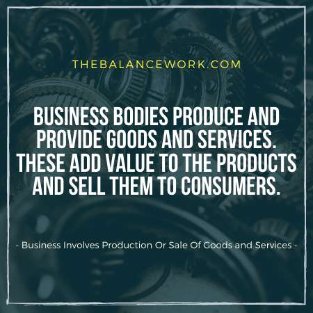 Business Involves Production Or Sale Of Goods and Services