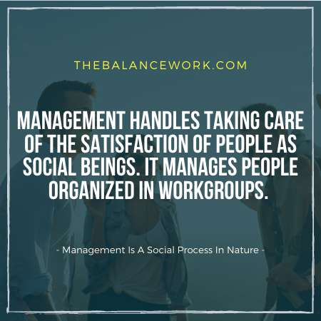 Management Is A Social Process In Nature