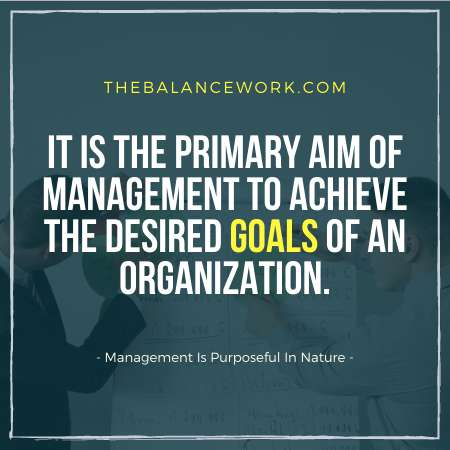 Management Is Purposeful In Nature